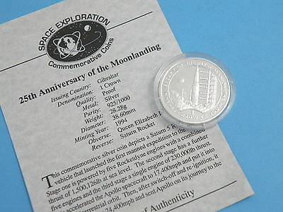GIBRALTAR - 1994 SILVER PROOF CROWN COIN - Moonlanding - SATURN SPACE ROCKET