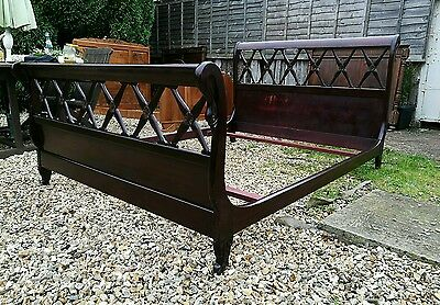 Lovely Conditon Vintage French Mahogany Colonial Empire Swan Sleigh Double Bed