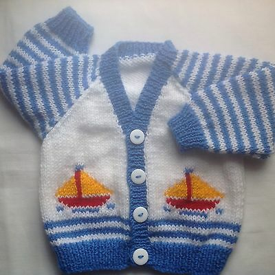 Unique Hand Knitted Boys Cardigan 3-6 Months Approx