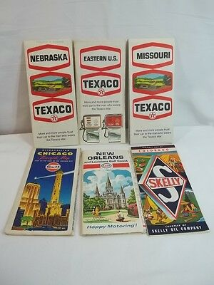 Vintage Road Maps Lot of 6 Texaco Gulf Skelly Esso Chicago Nebraska Colorado
