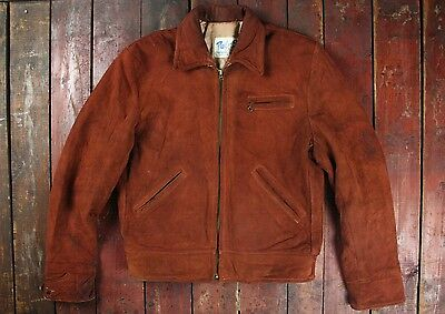 VTG 50s PEARL SPORTSWEAR BROWN SUEDE LEATHER BOMBER JACKET 40