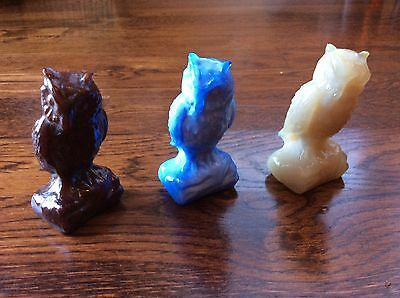 Lot of 3 Boyd Art Glass Owl  ~ 3 1/2 inches tall   Vaseline...Glows