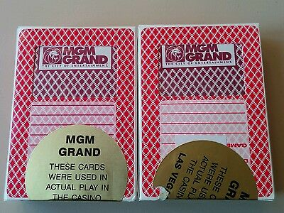 Two Decks Mgm Grand Casino Las Vegas Playing Cards Used And Resealed Two Pack