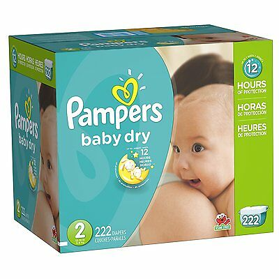 Pampers Baby Dry Diapers Economy Pack Plus Size 2 222 Count New