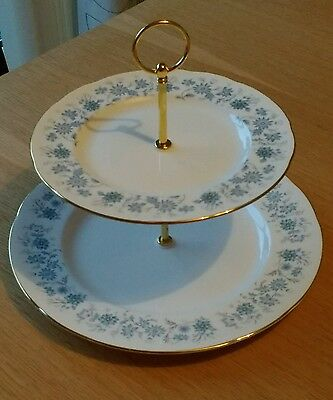 Colclough China 2 Tier Cake Stand - Braganza Pattern - Made in England
