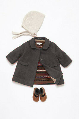 RRP£150 Caramel Baby and Child Grey 100% Wool Winter Coat, Size 18 Months