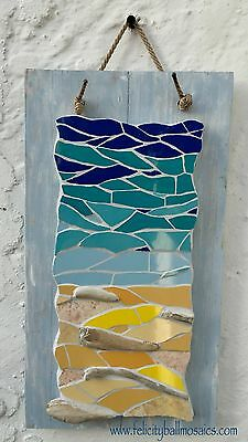 Mosaic mixed media coastal sea and sand picture, with driftwood art