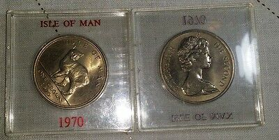 IOM Isle of Man Manx 1970 Crown Manx Cat uncirculated cased (pair)