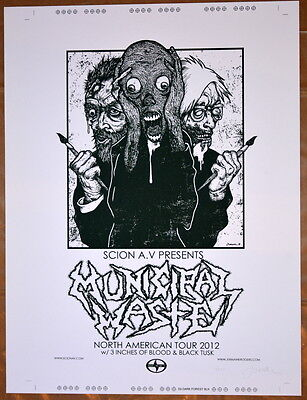 Municipal Waste - Test Print - 2012 N American Tour - Jermaine Rogers - Poster