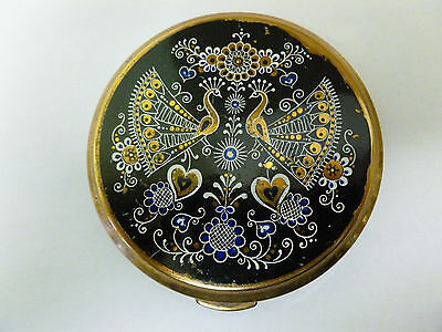 Vintage Powder Compact with Stylised Peacocks Design