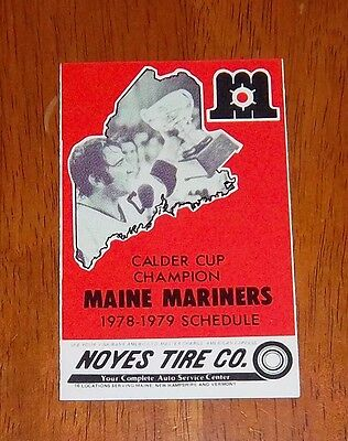 AHL pocket schedules maine mariners 1978-79 lot # 2