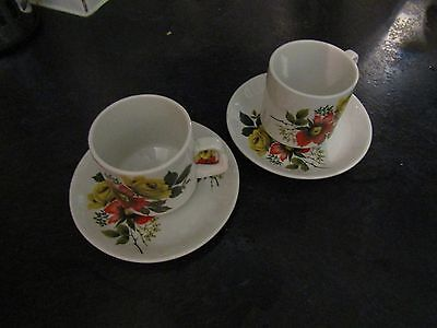 A Pair Of Vintage Small Coffee Cups/saucers[Wood & Sons England]