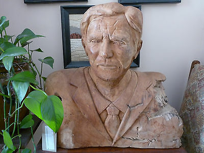 Wood carved Sculpture -  Bust Of unknown stubbled gentleman.