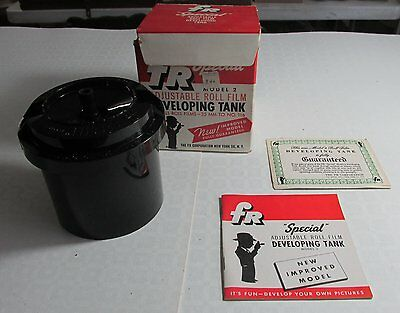 FR Special Adjustable Roll Film Developing Tank With Box and papers, Vintage