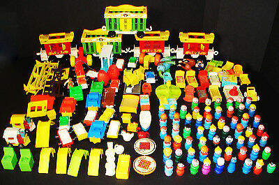Huge Lot 150 Vintage Fisher-Price Little People Cars Parts Furniture Accessories