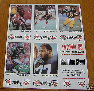 CFL excitement 89 vachon 5 card panel  goal line stand