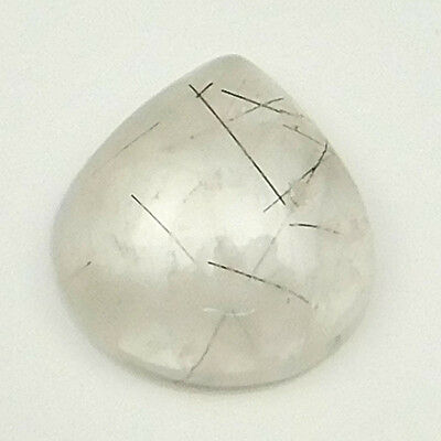 14.85 cts Natural Untreated Black Rutilated Quartz Gemstone Heart Loose Cabochon