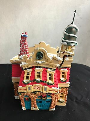 Disney Lighted Christmas House Toontown Fire Department EUC Retired MIB