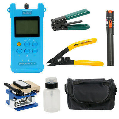Fiber Optic FTTH Tool Kit W/ FC-6S Cleaver Optical Power Meter Visual Finder -BM