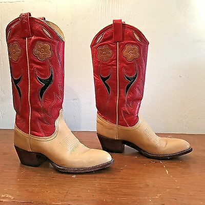 Ralph Lauren Cowboy Boots Womens Red Green Tan Floral Round Pointed Toe Size 6.5