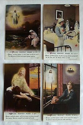 #5033 Series Set Of 4 WW1 Bamforth & Co LTD Song Postcards Peace Perfect Peace