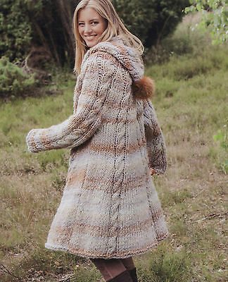 Knitting Pattern- Ladies Superchunky hooded cable coat pattern- see description