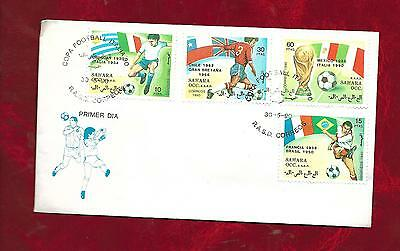 1st day cover, football stamps Sahara 1990 World Cup set