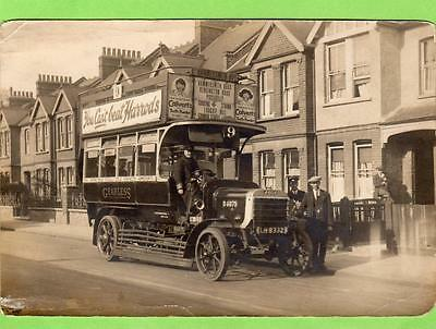 Bus Omnibus Hammersmith Rd London old photo on card ( NOT POSTCARD )