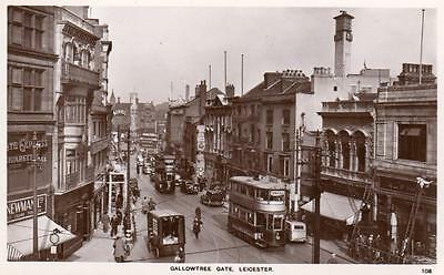 Gallowtree Gate Leicester Tram unused RP pc A W Holmes & Son