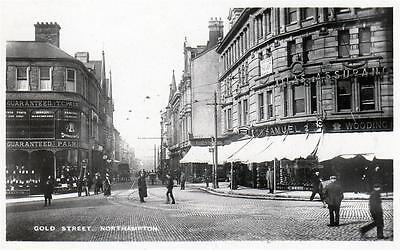 Gold Street Northampton RP old postcard used 1908