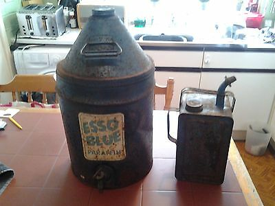 Vintage/Collectable Esso Blue Paraffin Container/Dispenser & Can