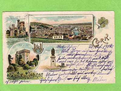 Gruss Aus type Cork Ireland Early pc used 1902 sent to Switzerland