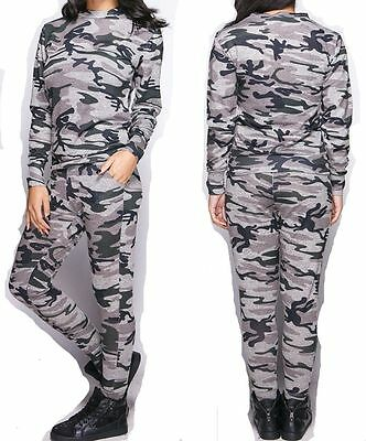 New Women Ladies Celebrity Camouflage Army Print Tracksuit Loungewear All In One