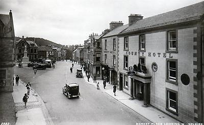 Market Place Selkirk Hotel unused sepia RP old postcard by Edwards