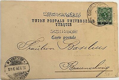 German Levant 1899 Constantinople PPC Golden Horn mailed to Germany