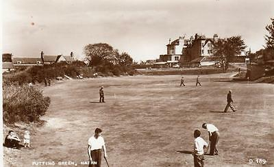Putting Green Nairn Golf RP old pc used 1957 Valentines
