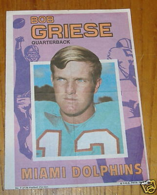 topps poster inserts NFL1971 # 7 of 32 bob griese