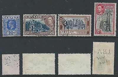 Small Ceylon Perfin Lot of 4 different stamps. Includes AS&Co, CBI and VRT