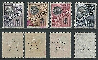 Costa Rica Perfin Lot of 4 different official stamps each with Large Star