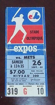 Montreal Expos Ticket Stub vs Dodgers September 26 1981