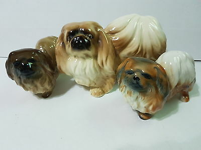 3x Vintage Pekingese dog ornaments coopercraft and sylvac style
