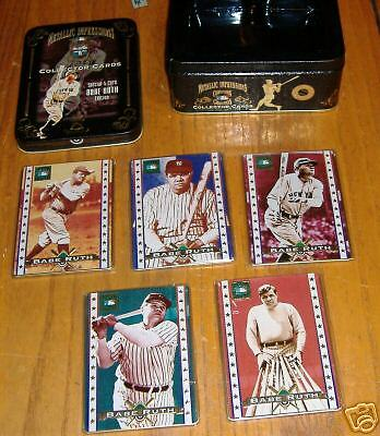metallic impressions      babe ruth  5 card set