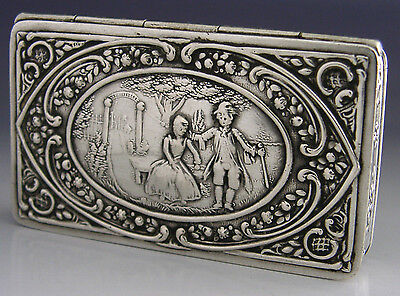 HIGH QUALITY SOLID SILVER PICTURE TOP SNUFF BOX c1890 HANAU ANTIQUE