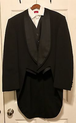46L Mens Formal Black 100% Wool Oscar de la Renta Tuxedo Tailcoat Prom Wedding
