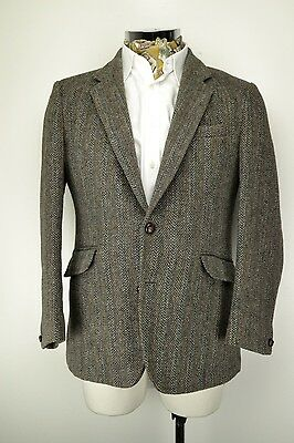 "Vintage HARRIS TWEED Blazer JACKET 40"" Short Herringbone"