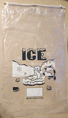 10 LBS Plastic Ice Bags with Drawstring **Pack of 100** Free Shipping