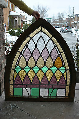 Antique Stained Glass Church Window(c.1900)-OAKFrame-Arch.Salvage-Ship Worldwide