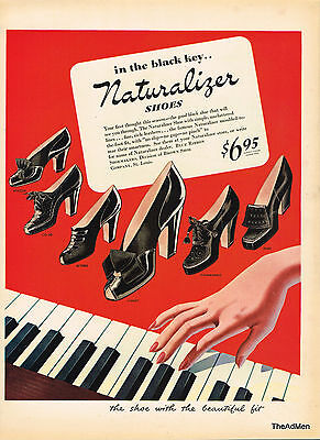 1943 Naturalizer Shoes Vintage Fashion Laminated Ad Art Super Fast Shipping