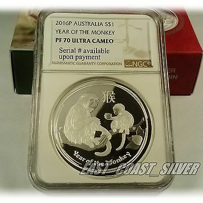 Year of the monkey NGC PF70 Ultra Cameo Lunar Series 1 oz silver proof coin 2016