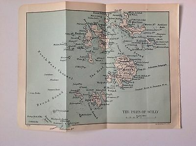 The Isles Of Scilly, 1915 Antique Street Map, Original John Bartholomew